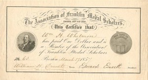Edward Everett signed Membership Receipt - Association of Franklin Medal Scholars